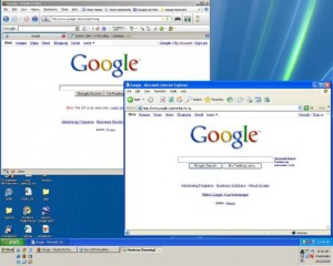 This shows a Firefox window and an IE window running in the different machines.